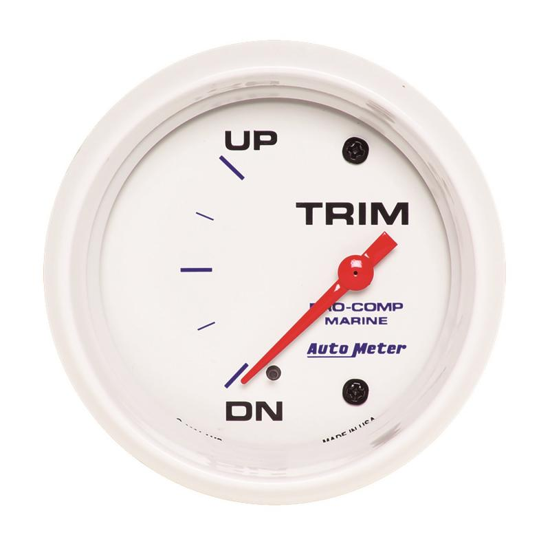 AutoMeter GAUGE; TRIM LEVEL; 2 5/8in.; 0ODOWN-90OUP; ELECTRIC; MARINE WHITE
