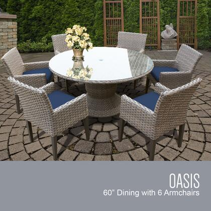 OASIS-60-KIT-6DCC-NAVY Oasis 60 Inch Outdoor Patio Dining Table with 6 Chairs w/ Arms with 2 Covers: Grey and