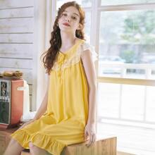 Lace Panel Ruffle Hem Night Dress