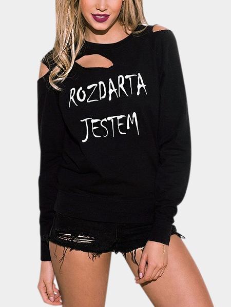 Yoins Black Round Neck Letter Pattern Ripped Long Sleeves Sweatshirt