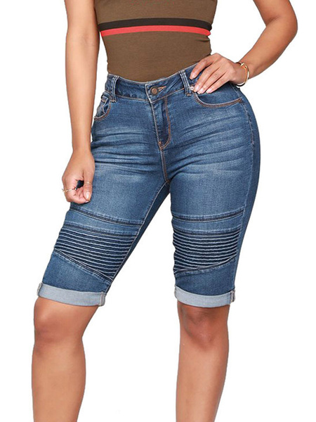 Milanoo Woman Jeans Shorts Sexy Denim Pants
