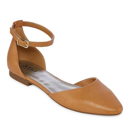 a.n.a Womens Darell Buckle Closed Toe Ballet Flats, 11 Medium, White
