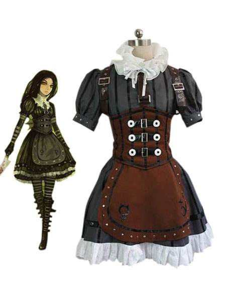 Milanoo Alice: Madness Returns Alice Halloween Cosplay Costume Steampunk Dress  Halloween
