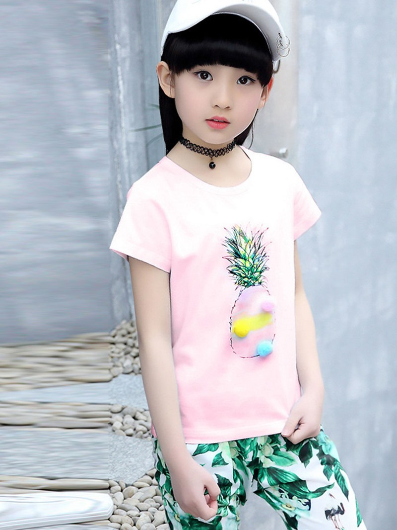 Ericdress Plant Printing Style 2-Pcs Girls Summer Suit
