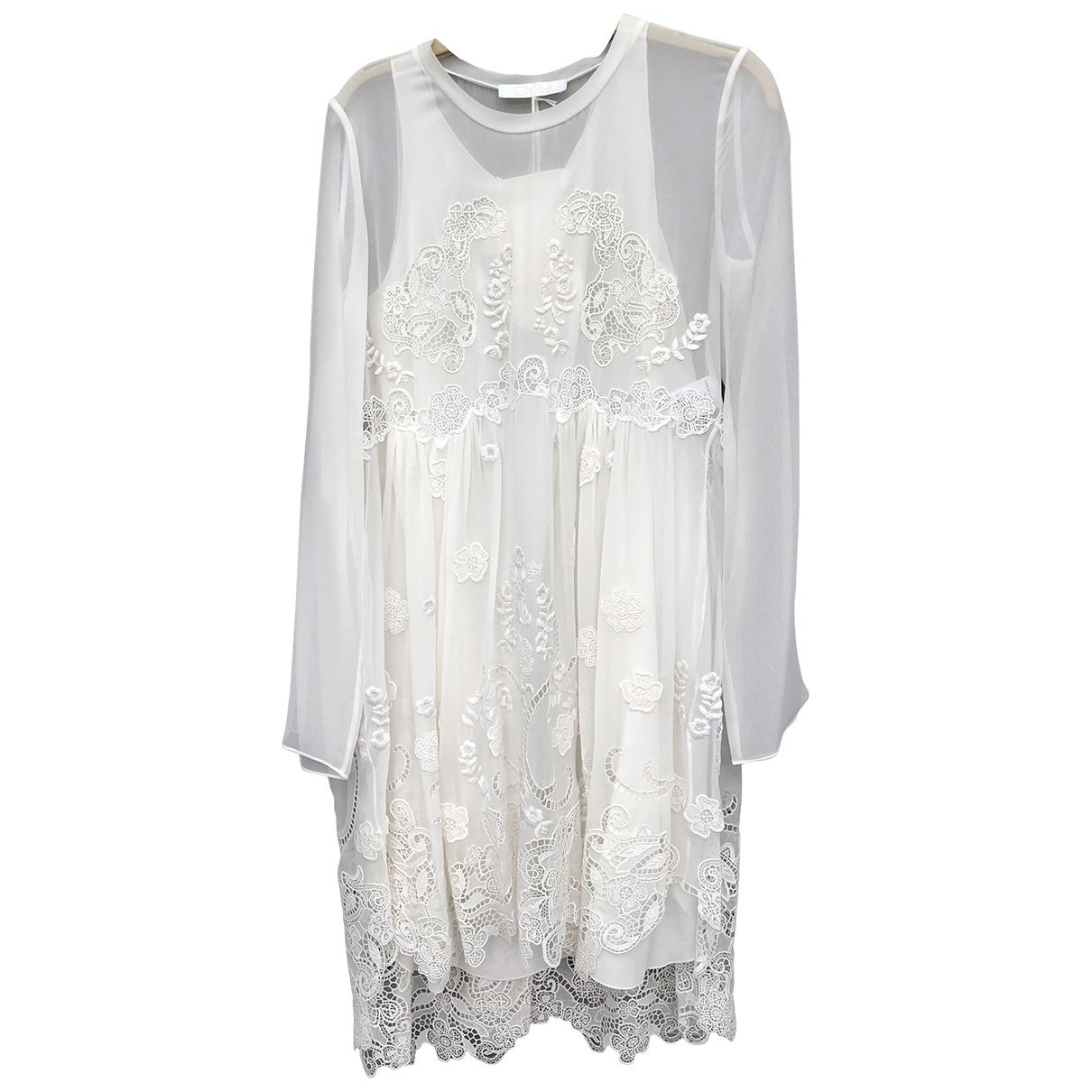 Chloe \N Kleid in  Weiss Seide