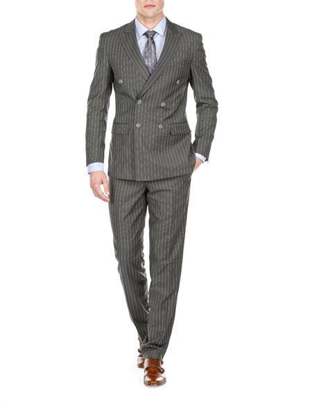 Men's Double Breasted Bold Stripe Peak Lapel Olive Slim Fit Suits