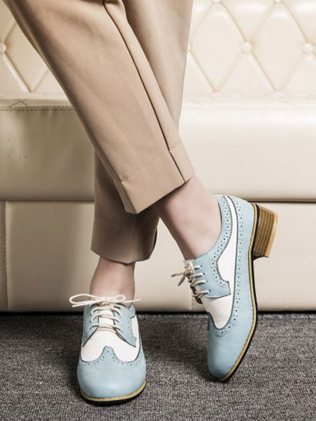 Milanoo Women Oxfords Classic Round Toe Lace Up PU Leather Oxford Shoes