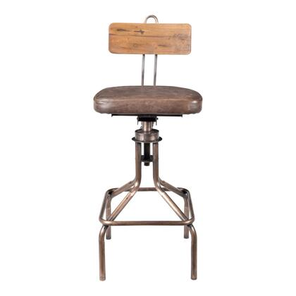 National Collection DR-1255-42 Bar Stool with Leather Upholstered Seat in Brown