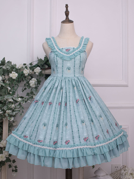 Milanoo Sweet Lolita JSK Dress Floral Print Lolita Jumper Skirts