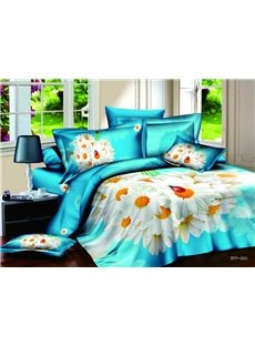 3D White Daisy Printed Cotton 4-Piece Blue Bedding Sets/Duvet Covers