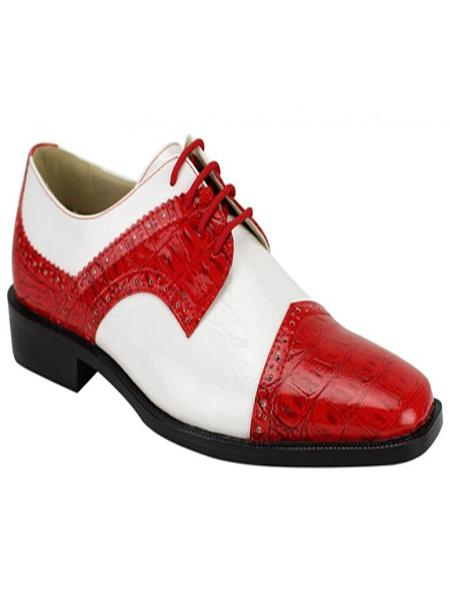 Men's Fashion Two Toned Red/White Dress Shoe