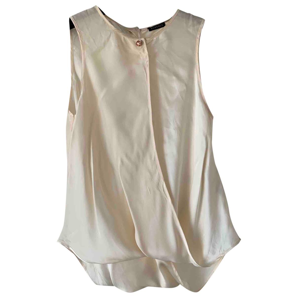 Versace - Top   pour femme en soie - beige