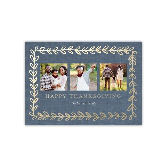 20 Pack of Gartner Studios® Personalized Gold Vine Flat Foil Thanksgiving Photo Card in Slate Blue | 5 x 7 | Michaels®