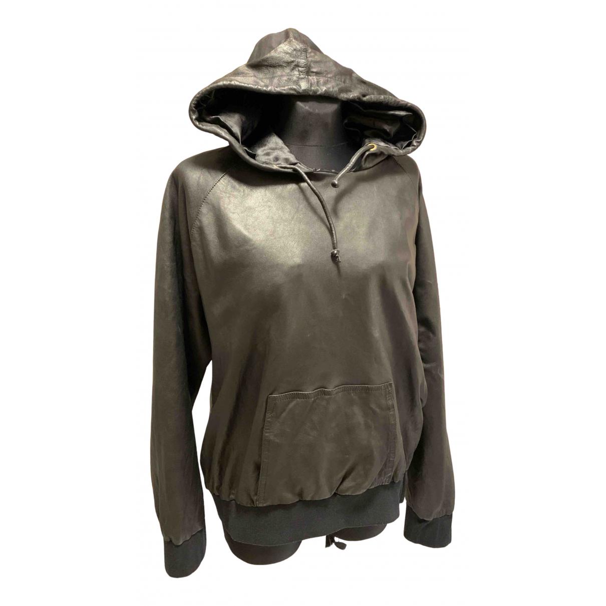 - Blouson Oversize pour femme en cuir - noir