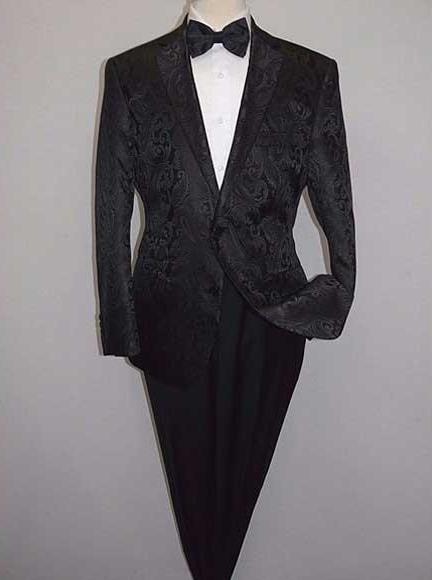 Men's Shiny 2 Buttons Notch Collar Floral Paisley Formal Black Blazer