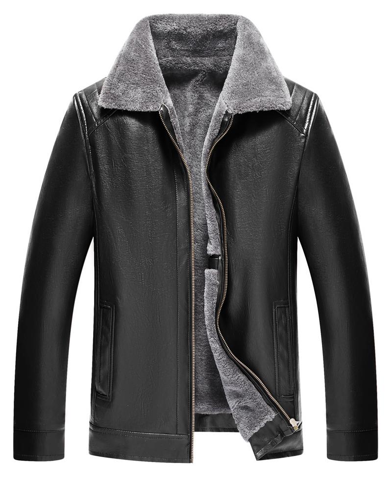 Plain Slim Model Lapel PU Zipper Business Style Jacket
