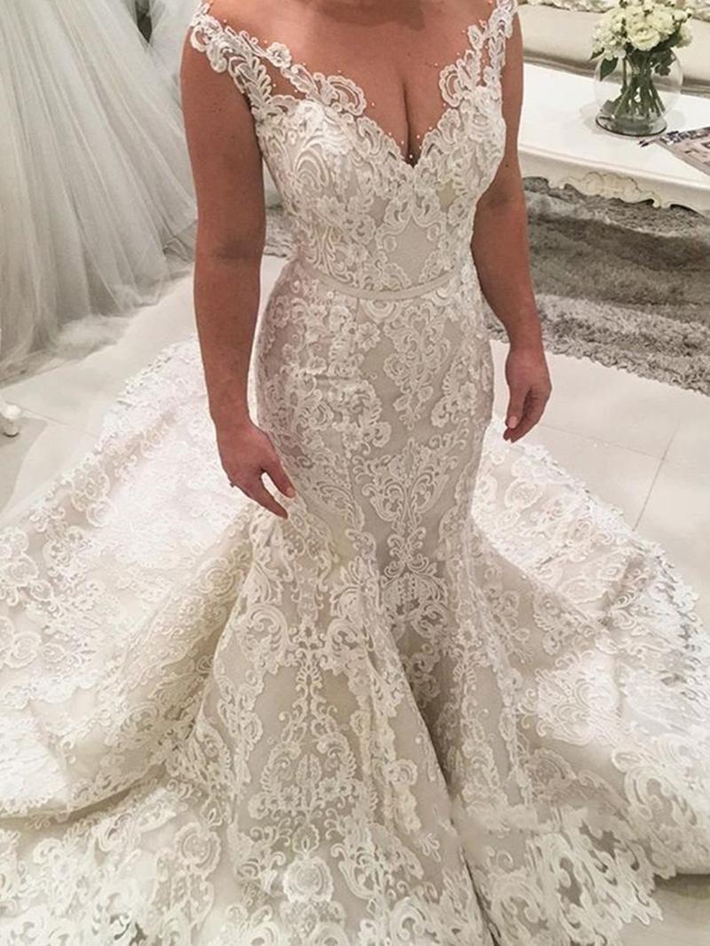 Ericdress Beading Lace Appliques Mermaid Wedding Dress