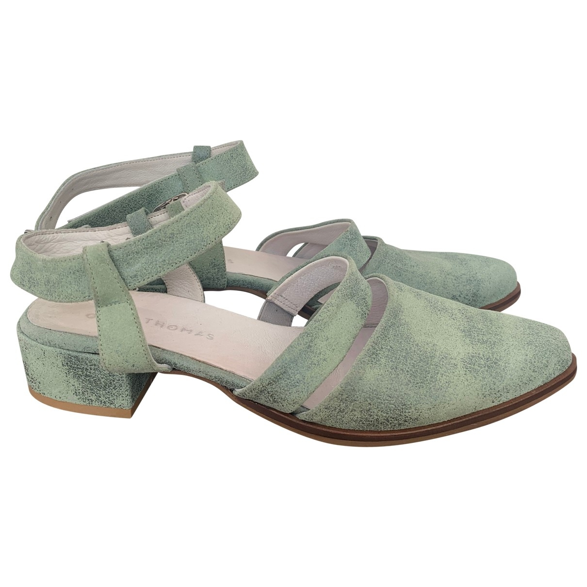 Non Signé / Unsigned \N Green Leather Sandals for Women 38.5 EU