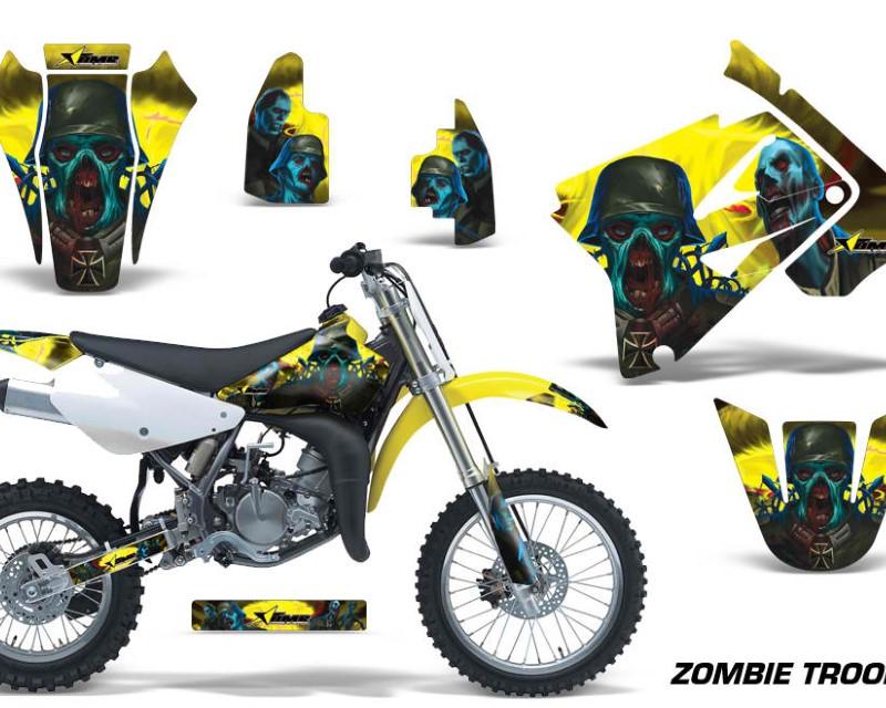 AMR Racing Dirt Bike Graphics Kit Decal Sticker Wrap For Suzuki RM85 2002-2016?ZOMBIE YELLOW