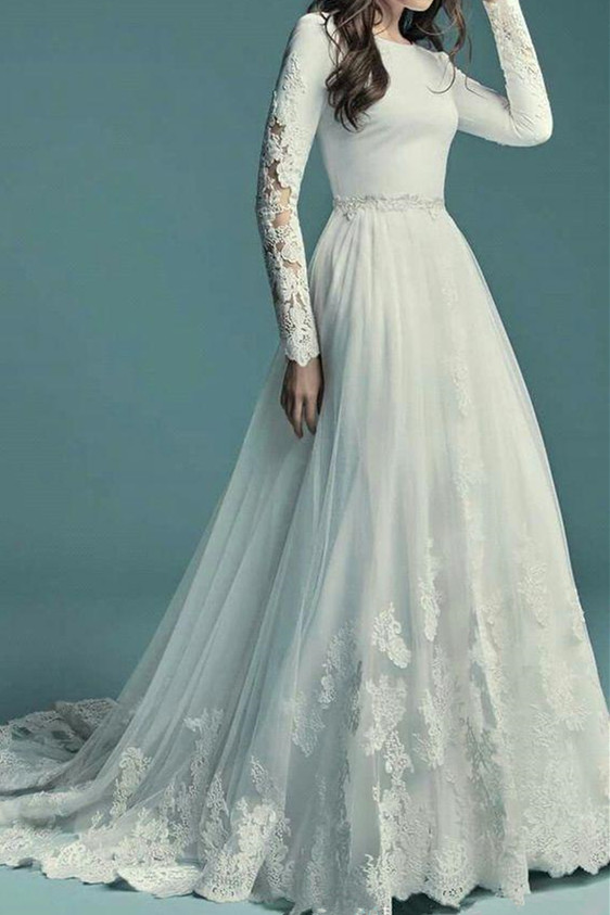 Elegant col rond Tulle blanc Robe de mariee trapeze manches longues