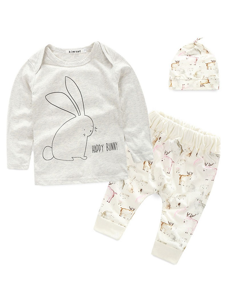 Ericdress Unisex Cotton Rabbit Printed Long Sleeve And Pant With Hat Baby 3-Pcs Set