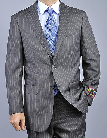 Men's 2Buttons Pinstripe Giorgio Fiorelli Brand suits Flat Front Pants