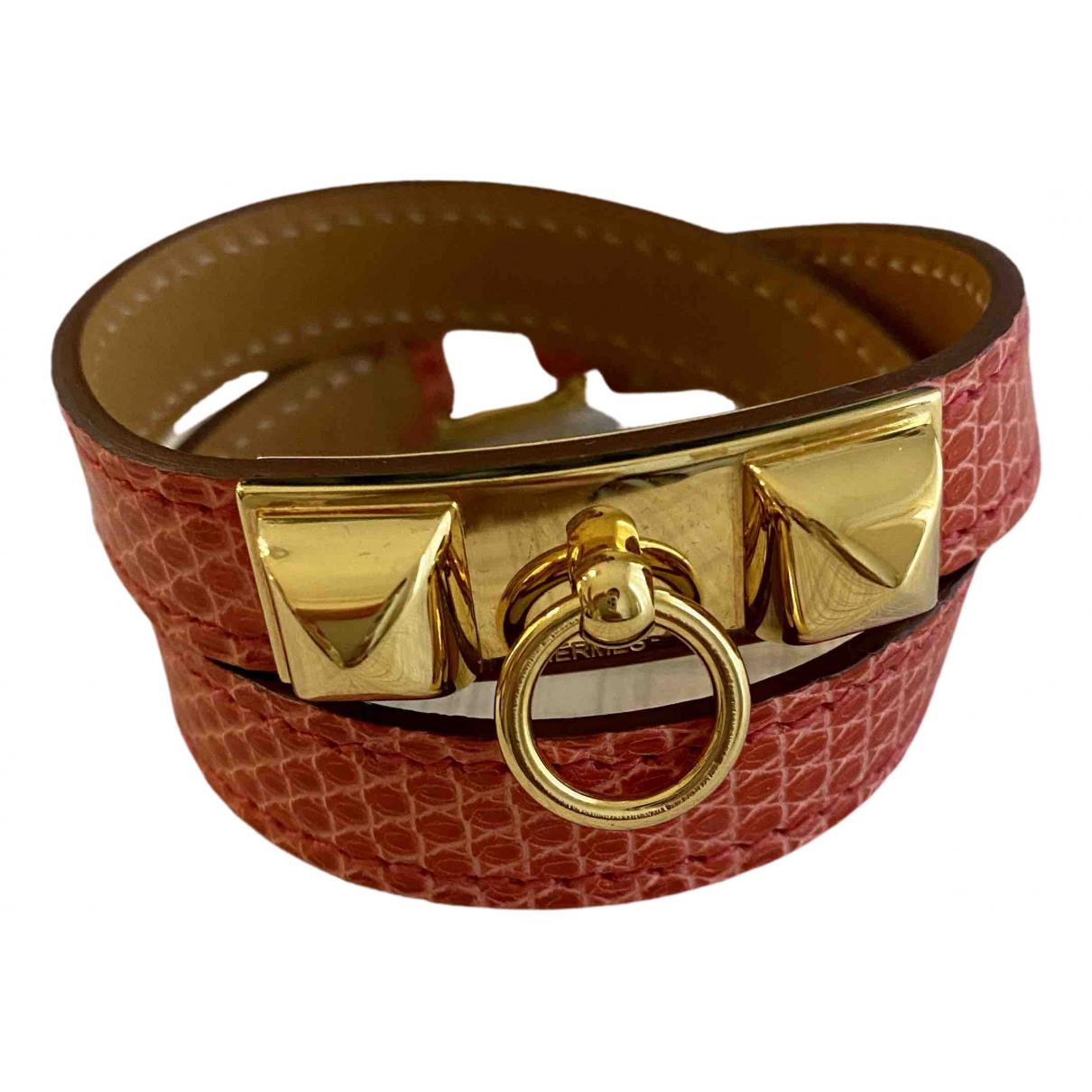 Hermes - Bracelet Rivale pour femme en lezard - orange