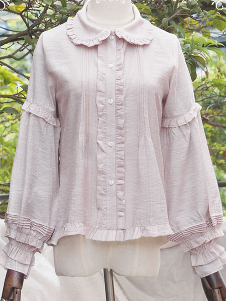 Milanoo Presale Lolitashow Sweet Lolita Blouses Pleated Lolita Top Long Sleeves Lolita Shirt