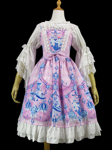 Milanoo Sweet Lolita JSK Dress Butterfly Witch Print Lace Ruffle Bow Lolita Jumper Skirt