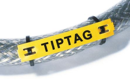 HellermannTyton TIPTAG Mounting clamp Cable Markers, Pre-printed TIPTAG HF Yellow (120)