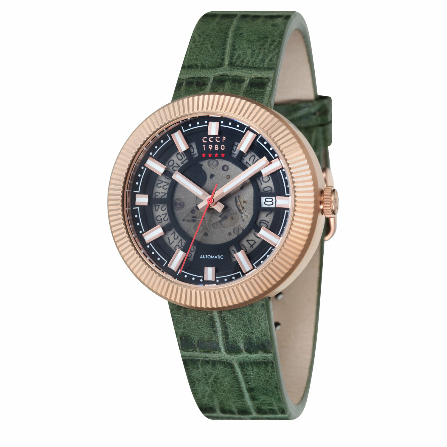 Cccp Men's Monino CP-7025-06 Green Leather Japanese Automatic Fashion Watch