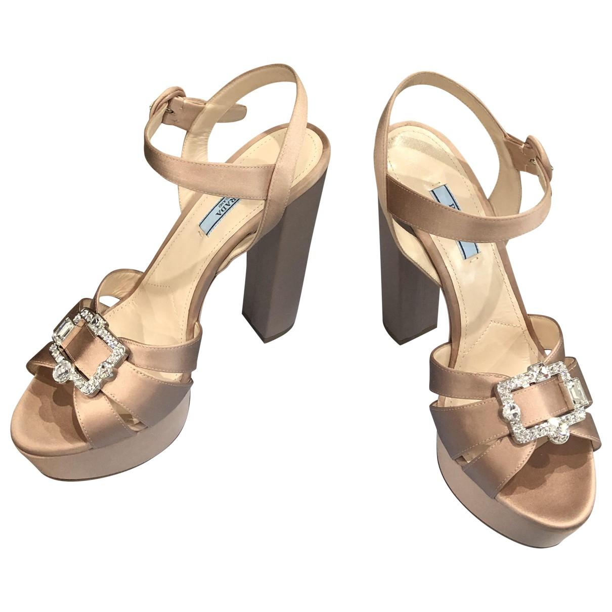 Prada - Sandales   pour femme en toile - beige