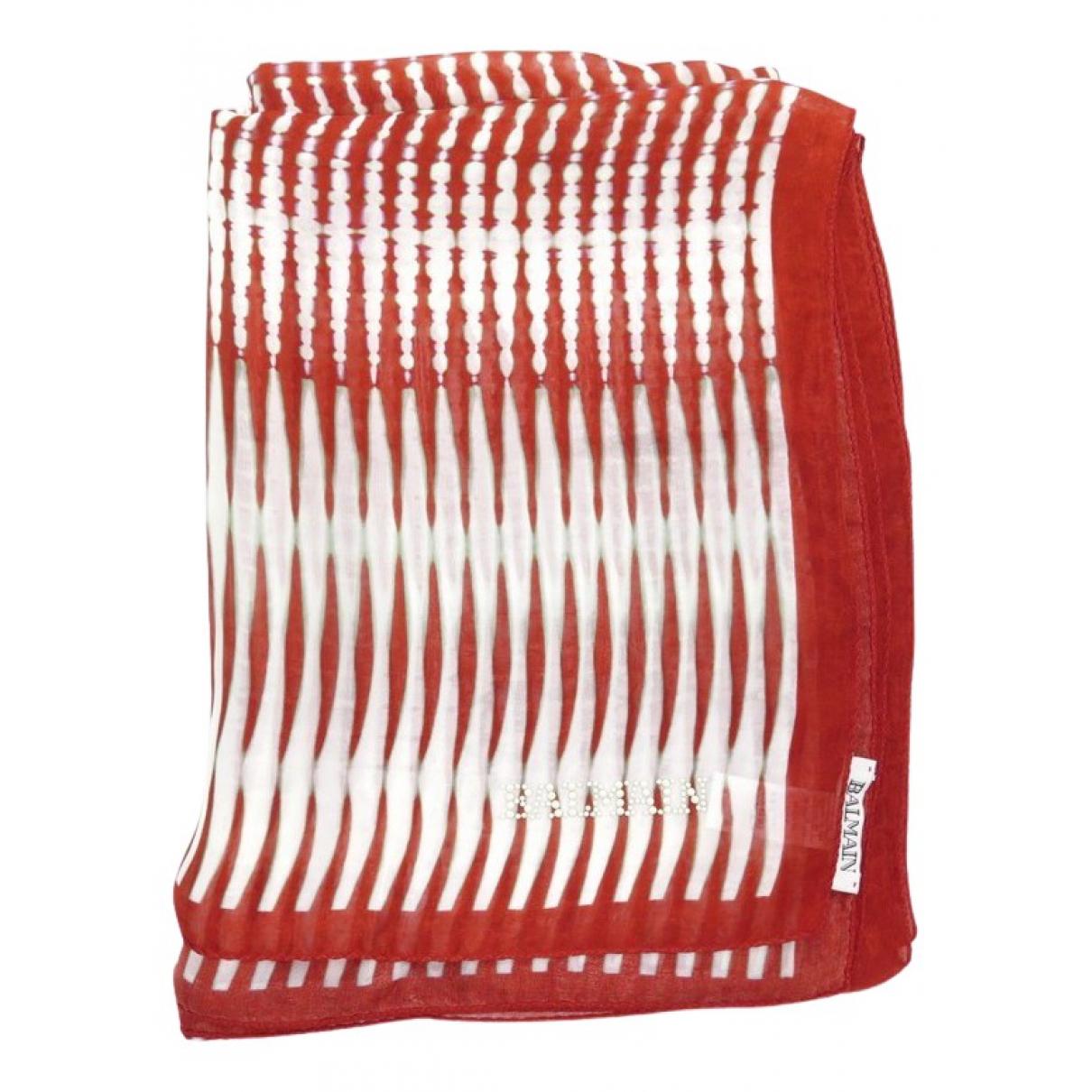 Balmain N Red Silk scarf for Women N