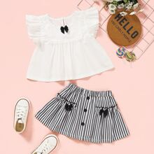Toddler Girls Lace Insert Bow Blouse With Striped Skirt