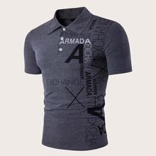 Men Slogan Graphic Polo Shirt