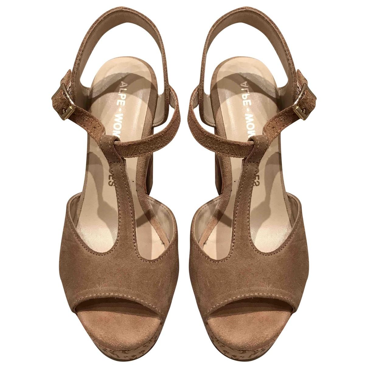 - Sandales   pour femme en suede - beige