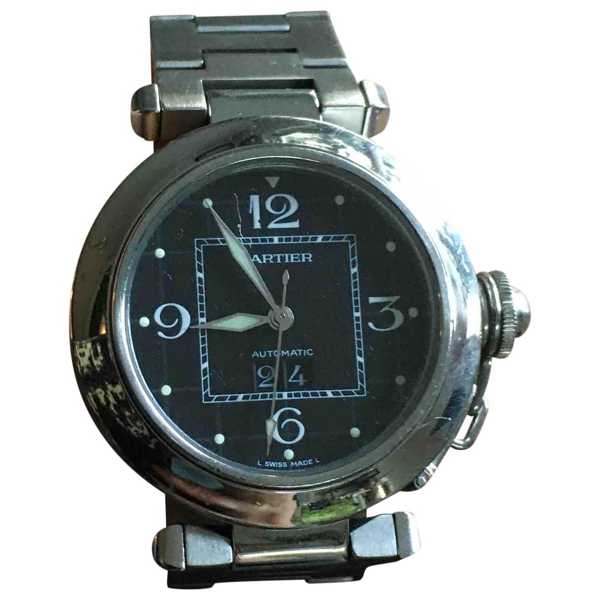 Cartier Pasha Uhr in  Grau Stahl
