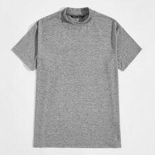 Strick T-Shirt mit Stehkragen und Marmor Muster
