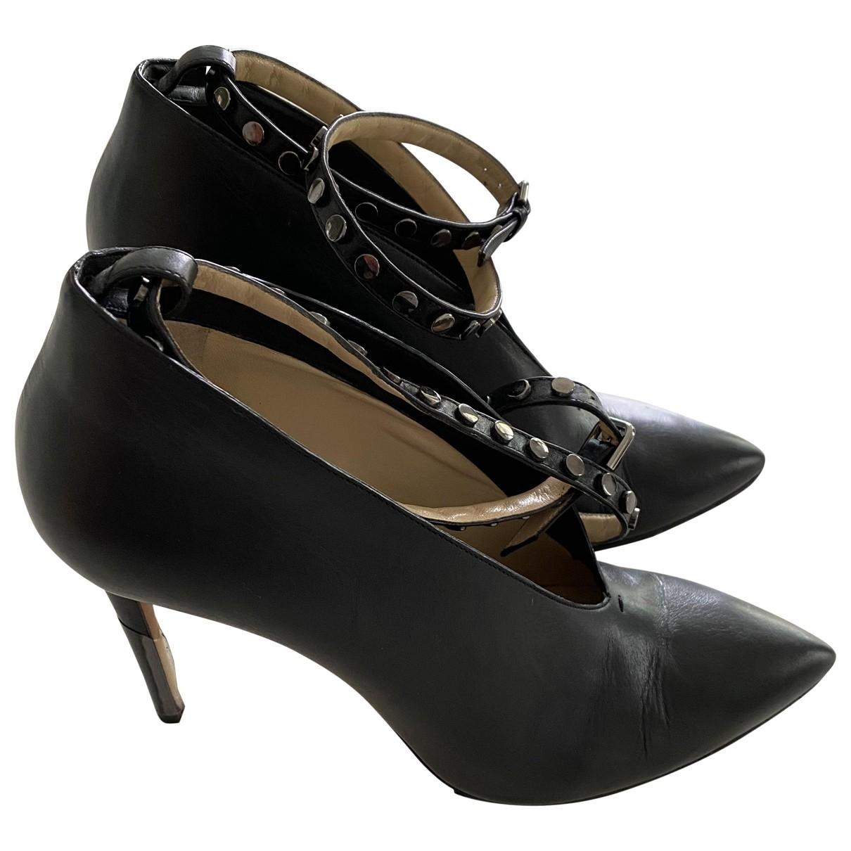 Jimmy Choo Lark ankle strap pump Black Leather Heels for Women 40 EU