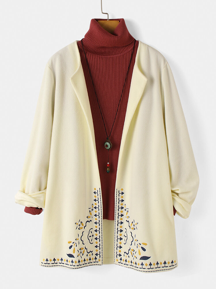 Vintage Embroidery Long Sleeve Casual Coat For Women
