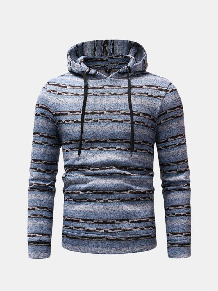 Mens Striped Hooded Drawstring Long Sleeve Slim Fit Casual Sweatshirt