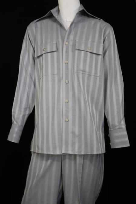Mens Harlem Designer Long Sleeve Silver Nightingale Stripe Zoot Suit