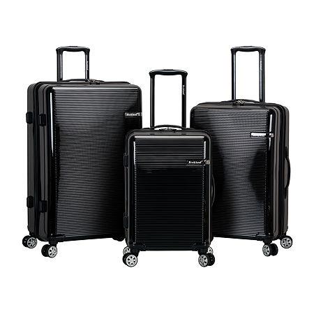 Rockland Polycarbonate Abs Upright 3-pc. Hardside Lightweight Luggage Set, One Size , Black