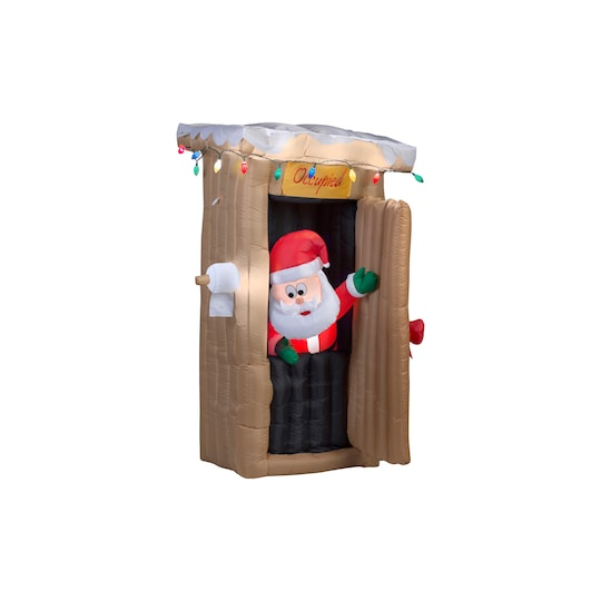 6Ft Animated Airblown® Inflatable Santa Coming Out Of The Outhouse By Gemmy Industries | Michaels®