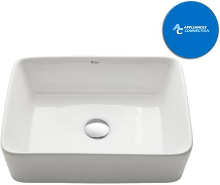 KCV121SN White Square Series Rectangular Ceramic Vessel Sink with Included Pop-Up Drain  Satin Nickel