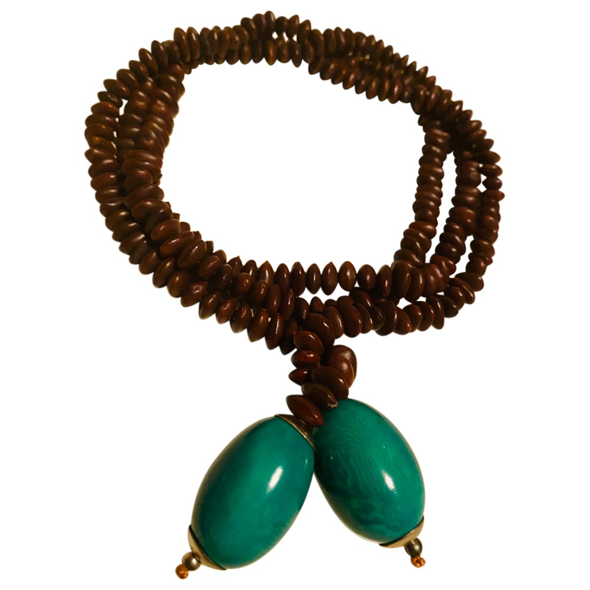 Non Signe / Unsigned Motifs Ethniques Halskette in  Braun Perlen
