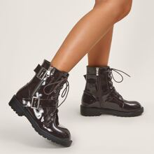 Buckle Decor Lace-up Front Ankle Boots
