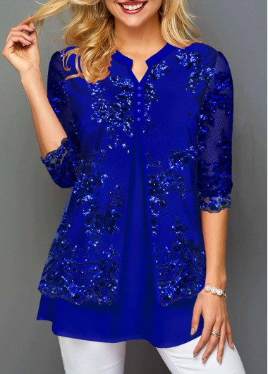 Women'S Royal Blue Split Neck Faux Two Pice Tunic T Shirt Solid Color Lace Panel Three Quarter Sleeve Casual Top By Rosewe - L