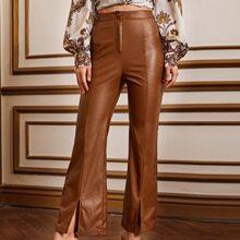 Split Hem PU Leather Pants