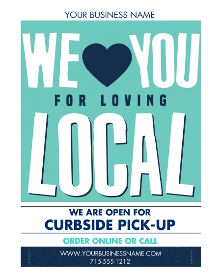 COVID-19 11x14 Adhesive Poster, Home Décor -Local Love